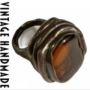 VTG Amber-Glass Statement Ring Silver-Tone OOAK